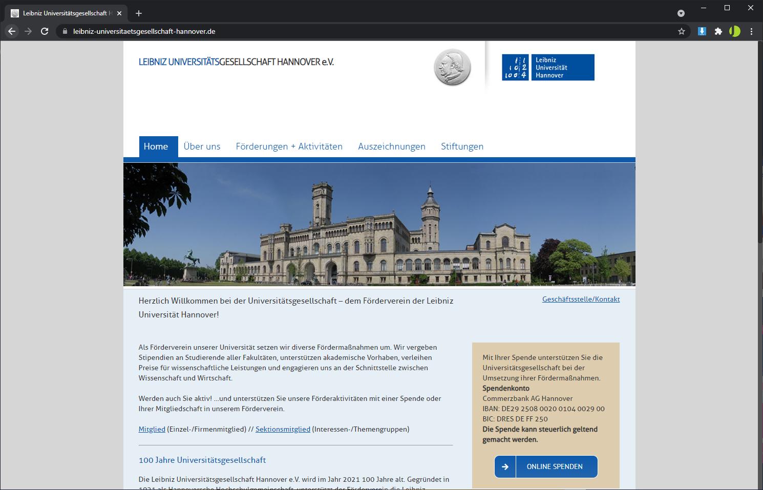 Homepage Erstellung mit WordPress - Leibniz Universitätsgesellschaft Hannover e.V.
