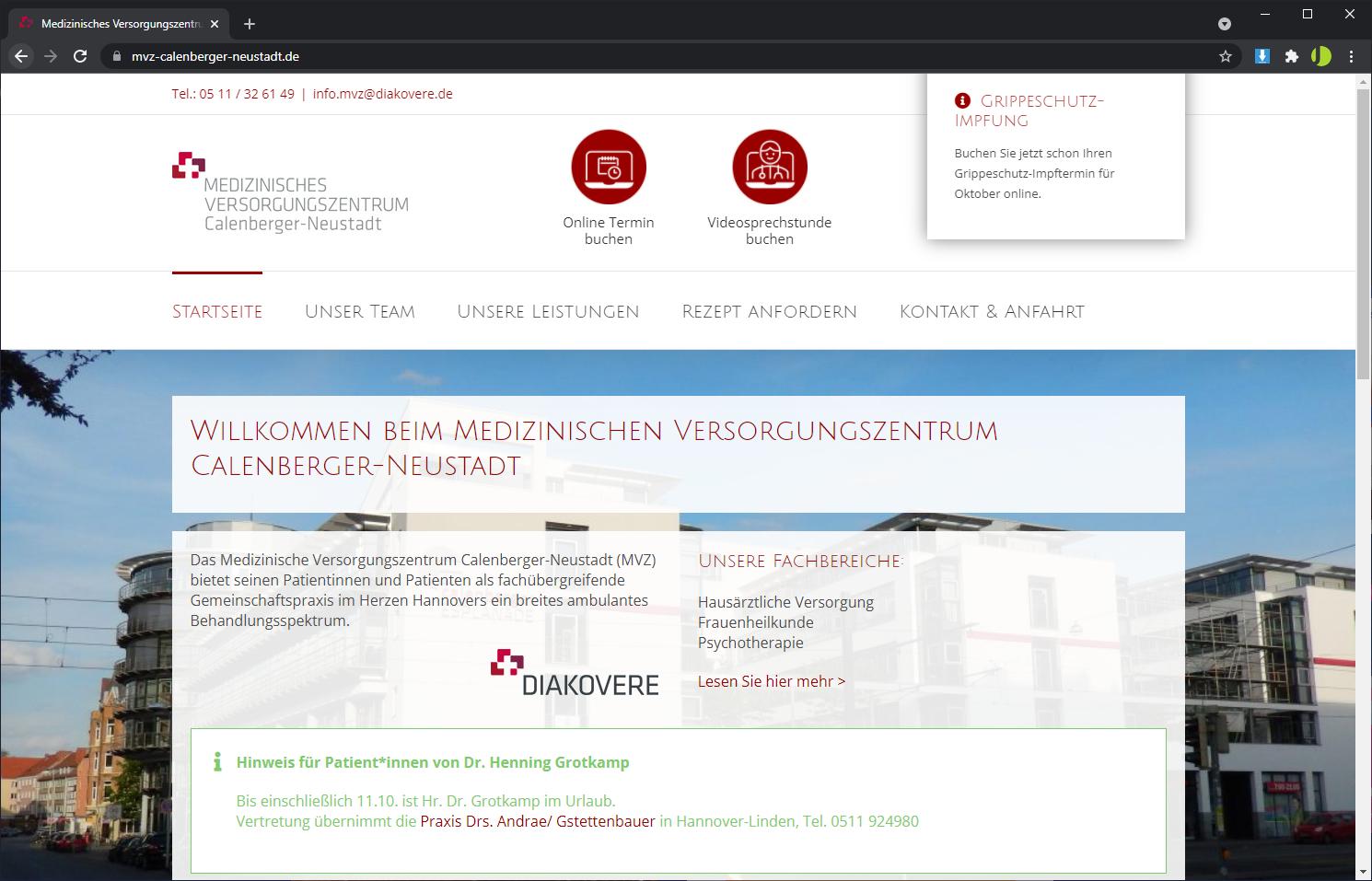 Homepage Erstellung mit WordPress - MVZ Calenberger-Neustadt